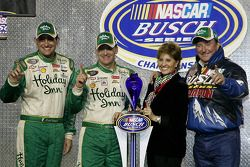 Championship victory lane: 2007 NASCAR Busch Series owner championship winner Richard Childress celebrates with race winner Jeff Burton and Scott Wimmer