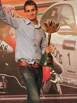 Oliver Jarvis poses with a trophy