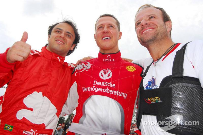 Felipe Massa, Michael Schumacher e Rubens Barrichello