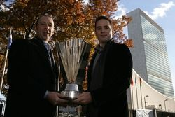 Jimmie Johnson, the 2007 NASCAR Nextel Cup Series Champion and crew chief Chad Knaus, infront of the
