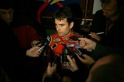 Jeff Gordon talks with media at the Hard Rock Cafe in Times Square following Victory Lap