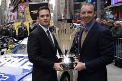 Jimmie Johnson and Chad Knaus pose for a photo with the 2007 NASCAR NEXTEL Cup Series trophy in Times Square
