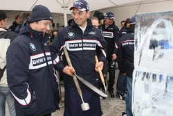 Ice carving, Andy Priaulx, BMW Team UK, BMW 320si WTCC and Jorg Muller, BMW Team Germany, BMW 320si
