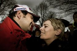 2007 World Rally Champion Daniel Elena celebrates