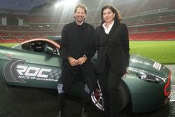 The World's best female rally driver Michele Mouton and IMP President Fredrik Johnsson do the first test at Wembley in the Aston Martin V8 Rally