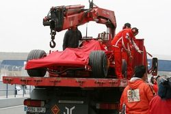 Michael Schumacher, Test Driver, Scuderia Ferrari, car is returned to the pits after spinning in the