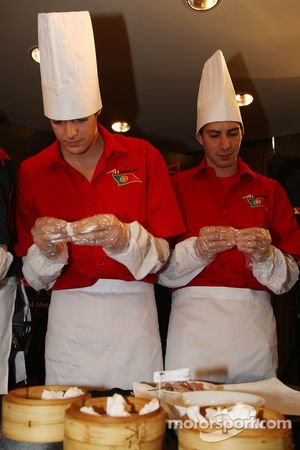 Dim Sum Making event: Joao Urbano, driver of A1 Team Portugal and Goncalo Arauyo, driver of A1 Team Portugal