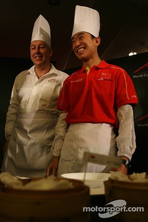 Dim Sum Making event: David Clare with Congfu Cheng, driver of A1 Team China