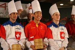 Dim Sum Making event: Neel Jani, driver of A1 Team Switzerland with Congfu Cheng, driver of A1 Team China and Alexandre Imperatori, driver of A1 Team Switzerland