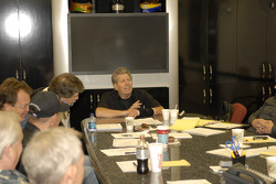 John Force holds court on a visit to his shop facility where he was updated on the progress of new race cars