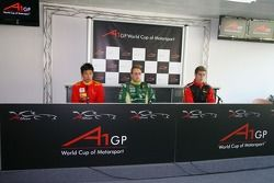 Congfu Cheng, driver of A1 Team China, Adam Carroll, driver of A1 Team Ireland and Michael Ammermull