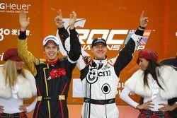 Podium : les vainqueurs de la Nations Cup 2007 Sebastian Vettel et Michael Schumacher