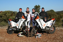 KTM: David Casteu and Frans Verhoeven with Kaestle KTM team members and their KTM 690 Rally