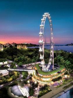 Singapore flyer overlooking Grand Prix circuit