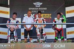 Podio: il vincitore Michael Ruben Rinaldi, San Carlo Team Italia, il secondo classificato Augusto Fernandez, PATA-Honda Junior Team, il terzo classificato Davide Stirpe, Scuderia Maran.ga. Racing