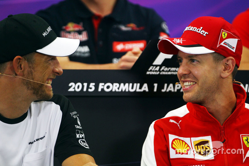 Jenson Button, McLaren with Sebastian Vettel, Ferrari in the FIA Press Conference