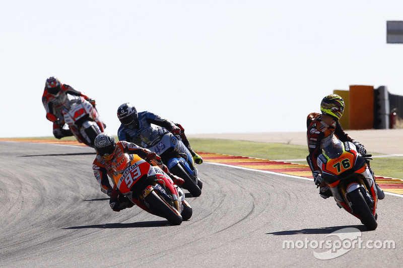 Loris Baz, Forward Racing Yamaha y Marc Márquez, Repsol Honda Team y Scott Redding, Marc VDS Racing