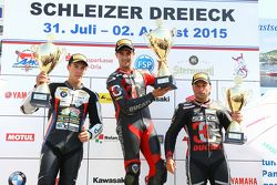 Podium: Race winner Xavier Fores, second place Markus Reiterberger and third place Lorenzo Lanzi