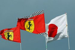 Ferrari flags and the Japanese flag
