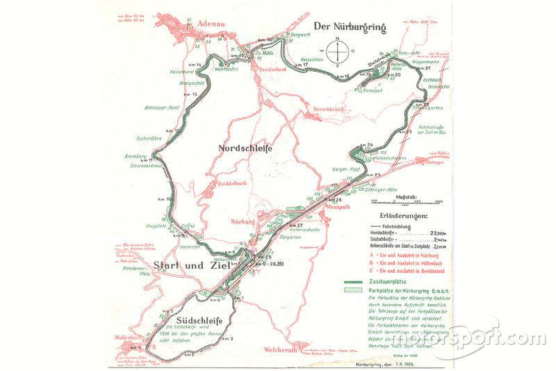 Karte des Nürburgrings aus dem Jahr 1936