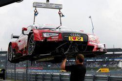 La voiture endommagée de Miguel Molina, Audi Sport Team Abt Audi RS 5 DTM