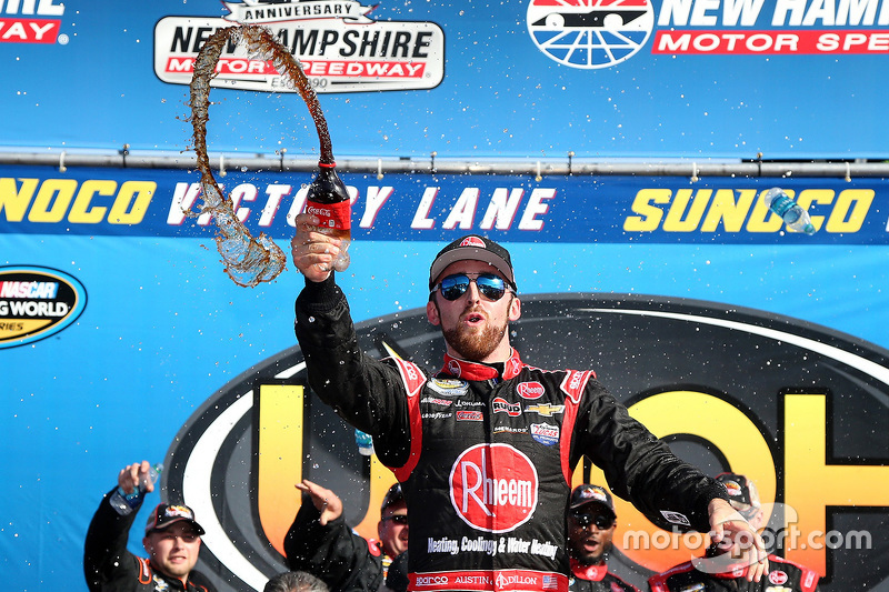 Race winner Austin Dillon celebrates