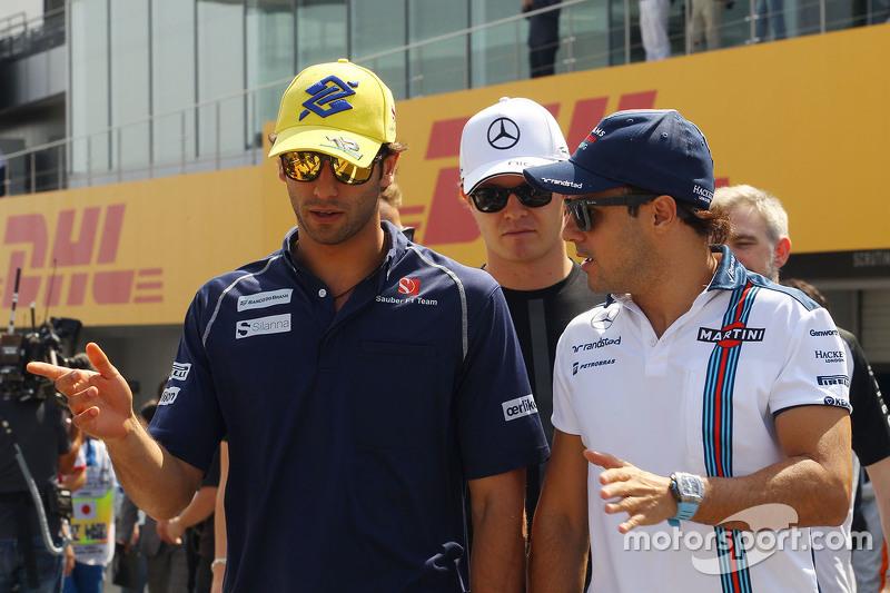 Felipe Nasr, Sauber F1 Team with Felipe Massa, Williams on the drivers parade