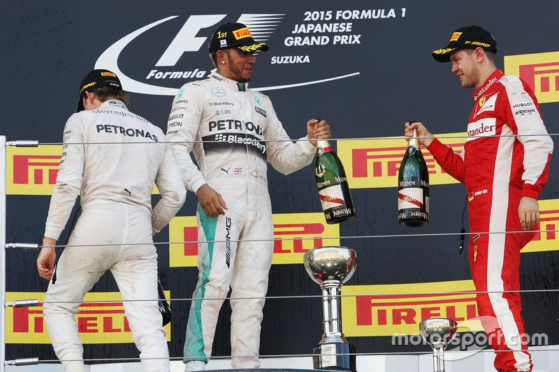 2015 Podium: 1. Lewis Hamilton, Mercedes. 2. Nico Rosberg, Mercedes. 3. Sebastian Vettel, Ferrari
