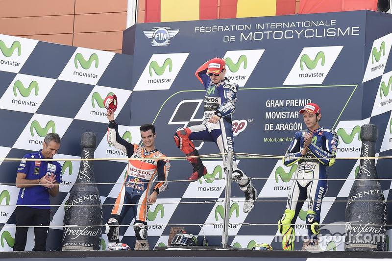 2015: 1. Jorge Lorenzo, 2. Dani Pedrosa, 3. Valentino Rossi