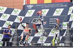 Dani Pedrosa, Repsol Honda Team y ganador Jorge Lorenzo y Valentino Rossi tercer lugar, Yamaha Facto