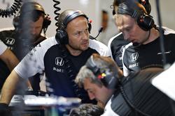 McLaren team at work in the garage