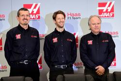 Haas F1 Team's Gunther Steiner, Romain Grosjean and Gene Haas