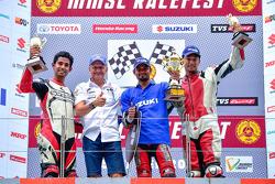 Suzuki Gixxer Cup podium with Kevin Schwantz