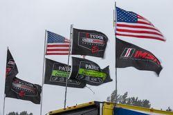 Flags in the rain