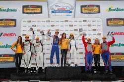 Podium: GS race winners #46 Fall-Line Motorsports BMW M3: Trent Hindman, Ashley Freiberg, second place#6 Stevenson Motorsports Chevrolet Comaro Z/28.R: Andrew Davis, Robin Liddell, third place #80 Mantella Autosport Chevrolet Camaro Z/28.R: Martin Barkey, Kyle Marcelli