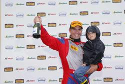 GS podium: Second place #6 Stevenson Motorsports Chevrolet Comaro Z/28.R: Andrew Davis, Robin Liddell