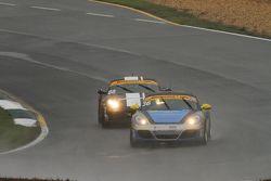 #36 Strategic Wealth Racing Porsche Cayman: Matthew Dicken, Corey Lewis and #88 Rebel Rock Racing Porsche Cayman: Nate Norenberg, Fred Poordad