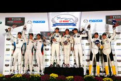 GTLM podium: winners Nick Tandy, Patrick Pilet, Richard Lietz, second place, John Edwards, Lucas Luhr, Jens Klingmann, third place Oliver Gavin, Tommy Milner, Corvette Racing