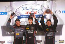 GTD podium: winners Patrick Lindsey, Spencer Pumpelly, Madison Snow