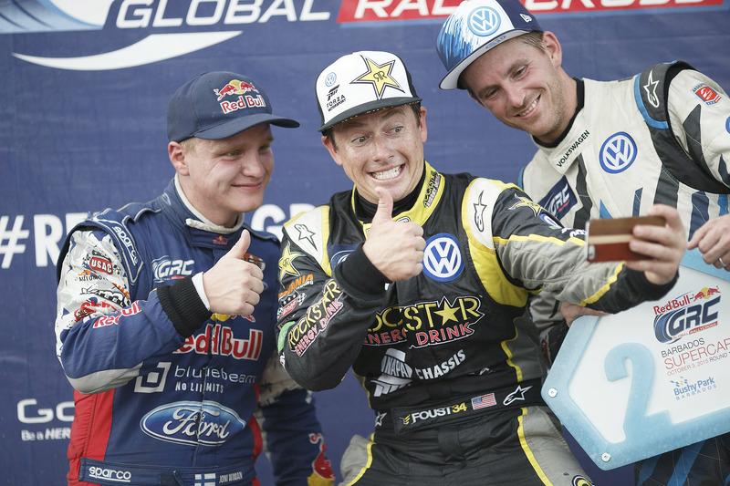 Winner Tanner Foust, Andretti Autosport Volkswagen, second place Joni Wiman, Olsbergs MSE Ford, thir