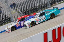 Denny Hamlin, Joe Gibbs Racing Toyota and Mario Gosselin, King Autosport Chevrolet
