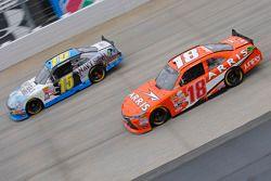 Daniel Suarez, Joe Gibbs Racing Toyota and Stanton Barrett, Ford