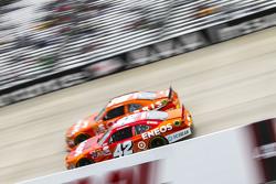 Kyle Larson, HScott Motorsports Chevrolet and Daniel Suarez, Joe Gibbs Racing Toyota
