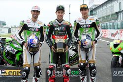 Kenan Sofuoglu, Kawasaki Puccetti Racing, Jonathan Rea, Kawasaki Racing Team, et Toprak Razgatlioglu, Kawasaki Puccetti Racing
