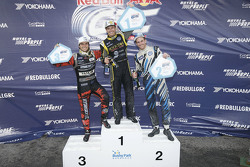 Winner Tanner Foust, Andretti Autosport Volkswagen, second place Scott Speed, Andretti Autosport Volkswagen, third place Nelson Piquet Jr., SH Racing Rallycross Ford