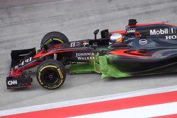Jenson Button, McLaren MP4-30 Honda, vernice flow viz