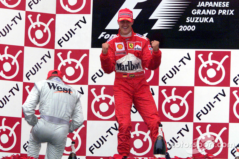 Podium: race winner and 2000 World Champion Michael Schumacher, Ferrari, second place Mika Hakkinen, McLaren