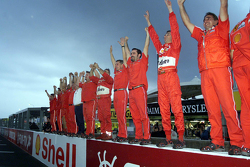 The Ferrari team celebrates the 2000 World Drivers Championship
