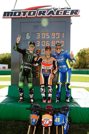 Mini bike challenge: winner Dani Pedrosa, Repsol Honda Team, second place Bradley Smith, Monster Yamaha Tech 3, third place Aleix Espargaro, Team Suzuki MotoGP