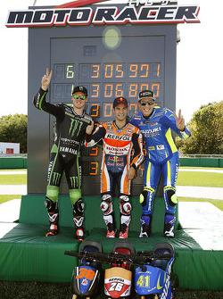 Minibike-Challenge: 1. Dani Pedrosa, Repsol Honda Team; 2. Bradley Smith, Monster Yamaha Tech 3; 3.